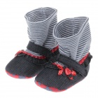 Cute Bowknot High Collar Socks Style Anti-slip Comfortable Baby Shoes - Black ( 3~6 Months / Pair)