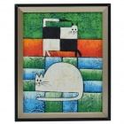 SYVIO The Life of Two Cats Pattern Handmade Oil Painting with Wood Frame - Multicolored
