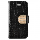 Stylish Shiny Crystal Inlaid Flip-open PU Leather Case w/ Holder + Card Slot for Iphone 4S - Black