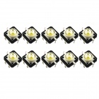 12 x 12mm Light Touch Switches / White Light - Silver (10 PCS)