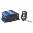 "1.4"" LCD 4 x 25W Motorcycle Amplifier w/ MP3 / USB / TF / AUX / FM - Black + Blue"