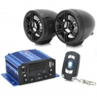 "1.4"" LED 4 x 25W Motorcycle Amplifier w/ MP3 / USB / TF / AUX / FM - Black + Blue"