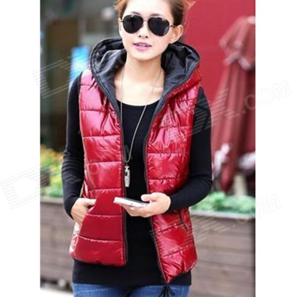 Fashion Women' s Sleeveless Hooded Shiny Cotton Vest - Red (L)