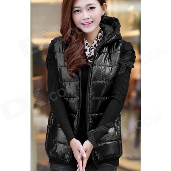 Fashion Women' s Sleeveless Hooded Shiny Cotton Vest - Black (XL)