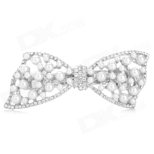 SHIYING 234 Butterfly Style Hollow Out Artificial Pearl Hairpin - White
