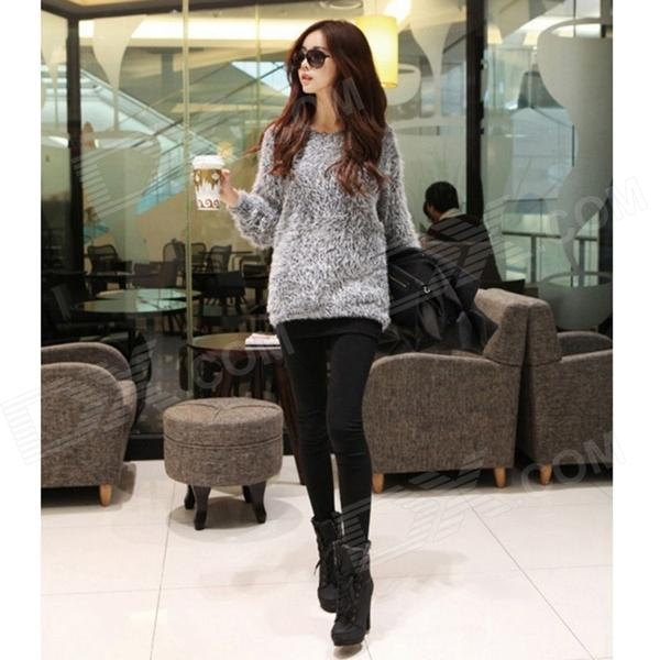 zzs-1 Fashion Mohair Knitted Sweater - Grey
