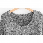 Fashion Mohair Knitted Sweater - Grey