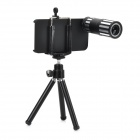 Handy Portable 12X Telephoto Lens + TrIpod + Back Case Set for Iphone 5S - Black + Silver