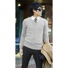 Stylish Men's Slim Fit Artificial Woolen Sweater - Grey (Size XXL)