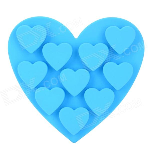 GE-62807 Cute Handy Heart Shaped Silicone Cake Ice Cube Tray Mould - Blue