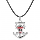 Skull Anchor Pendant Leather Rope Necklace - Black + Silver