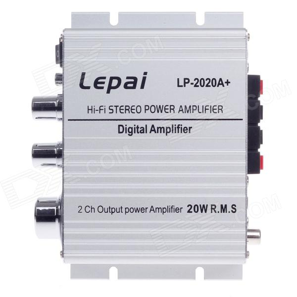 Lepai LP-2020 20W 2-CH Digital Stereo Car Audio Power Amplifier - Silver - DXCar Amplifiers<br>Brand Lepai Model LP-2020 Quantity 1 piece(s) Color Silver Material Aluminum alloy Amplifier Class T Frequency response 20~20000 Hz Number of Channels 2 Input Power 420W Peak Power Output 100+100W RMS Power Output 20+20W Input Sensitivity 16dB lnput Impedance 47K Signal To Noise Ratio 60 dB Slewing Rate 85% Input Voltage 10V-14.4V Speaker Impedance 4-8ohm THD (Total Harmonic Distortion) Interface 3.5mm jack Remote Control No Application car Other Features With original layout signal smoothly without interleaving; High current power supply circuit design; Special custom four import output inductance. Packing List 1 x Amplifier 1 x Power adapter (Feet flat plug AC110V-230V / 96cm) 1 x Chinese / English manual<br>