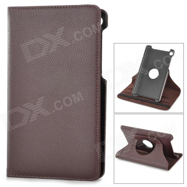 360 Degree Rotating Protective Litchi Pattern Case w/ Stand for Google Nexus 7 II - Chocolate
