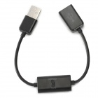 USB 2.0 Male to Female Extension Cable w/ Data + Charger Switch for Samsung P7510 + More - Black