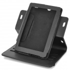 Protective Flip Open Litchi Pattern PU Leather Case w/ Stand for Amazon Kindle Fire HD 7 - Black
