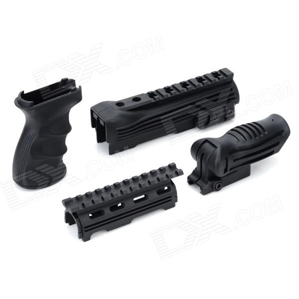 Durable DIY Plastic Steel Hand Grip + Rail Mount Set for AK Guns / Imitation Guns - Black (4 PCS) 9 aluminum alloy extendable bipod w mount for ak m40 guns more black