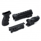 Durable DIY Plastic Steel Hand Grip + Rail Mount Set for AK Guns / Imitation Guns - Black (4 PCS)