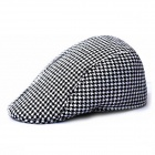Retro Plaid Beret Hat - White + Black