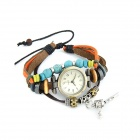 Euramerican Fashionable All-Match Multilayer PU Leather Bracelet Watch - Multicolored (1 x 337)