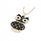 Classical Flexible Owl Style Women's Sweater Long Necklace - Black + Golden