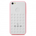 Hollow-Out Round Hole Style Protective Plastic + TPU Back Case for Iphone 5C - White + Deep Pink