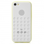Hollow-Out Round Hole Style Protective Plastic + TPU Back Case for Iphone 5C - White + Yellow