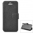 Fashionable Flip-open PU Leather Case w/ Holder + Card Slot for Iphone 5S - Black