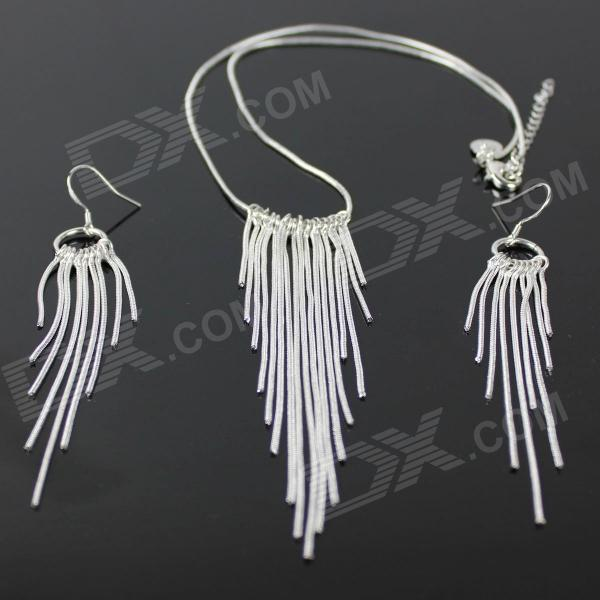 925 Silver Snake Chain Necklace + Snake Chain Earrings for Women - Silver alloy snake chain necklace