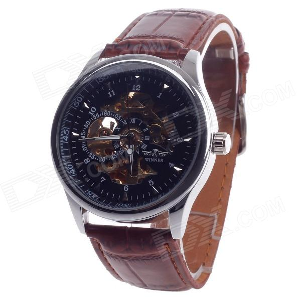 Fashionable Arabic Numerals Scale Automatic Mechanical Men's Wrist Watch - Brown + Silver