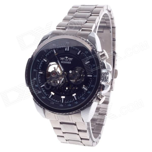 Fashionable Zinc Alloy Wristband Automatic Mechanical Men's Analog Wrist Watch - Silver + Black