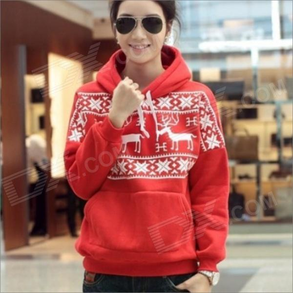 HY501 Fashion Deer Pattern Women's Casual Cotton Blending Fleece Hoodie Coat Sweater - Red (Size-L)