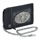 Cow-Head Pattern 3-Folding Anti-Theft Wallet with Chains - Black