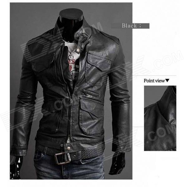 Locomotive Slim Fit PU Leather Men's Coat - Black (Size-L) men s fashion pu leather blended zippered coat black army green size xl