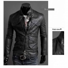 Locomotive Slim Fit PU Leather Men's Coat - Black (Size-L)