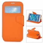 NEWTON Stilvoller Schutz Flip Open Case w / Display-Fenster für Samsung Galaxy S4 i9500 - Orange