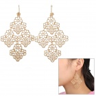 SHIYING D05401 Bohemian Style Hollow Out Rhombus Shape Earring - Golden