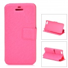 Protective PU + Plastic Flip Open Case w/ Stand / Card Slot for Iphone 5 / 5s - Deep Pink