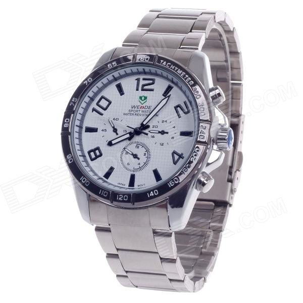 WEIDE WH-2303 Stylish Stainless Steel Men's Analog Quartz Wrist Watch - Silver + White (1 x CR2016) stylish 8 led blue light digit stainless steel bracelet wrist watch black 1 cr2016