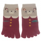 100% Cotton Fashionable Women's 5 Toe Socks - Red + Grey (Pair)