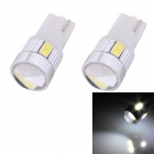 T10 3W 144lm 6 x SMD 5630 LED White Light Car Turn Signal Corner Parking Lamp With Lens (DC12V/2PCS)