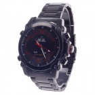 WEIDE WH-2302 Men's Quartz & LED Dual Time Display Sports Wrist Watch - Black + Red (1 x CR2016)