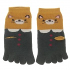 100% Cotton Fashionable Women's 5 Toe Socks - Green + Brown (Pair)