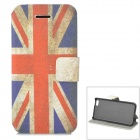 Retro UK National Flag Style Protective PU Leather Case for Iphone 5C - Blue + Red + Beige