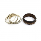 Euramerican Fashionable Postiche Wood Rivets Multilayer Women's Bracelet - Golden + Brown