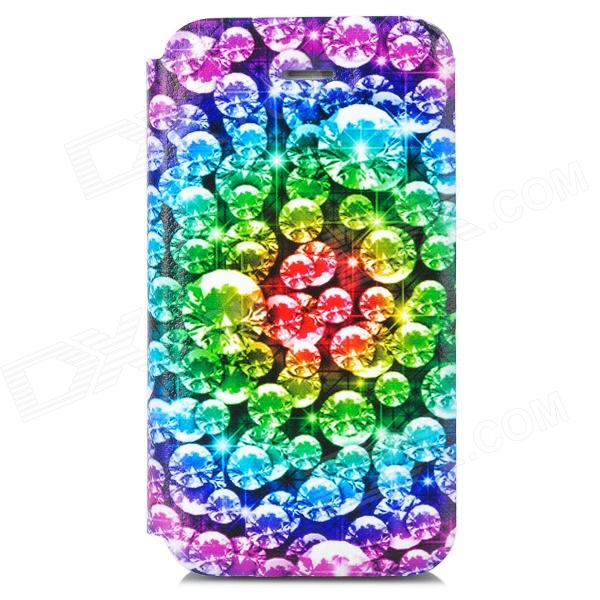 Shinny Diamond Pattern Protective PU Leather + Plastic Case for Iphone 4 - Multicolored fashion heart pattern pu leather case for iphone 5 multicolored