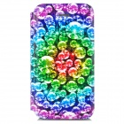 Shinny Diamond Pattern Protective PU Leather + Plastic Case for Iphone 4 - Multicolored