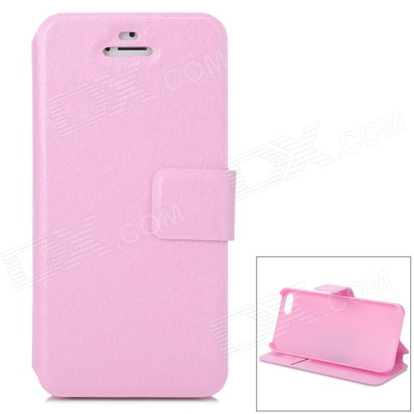 Modische Flip-Open PU-Leder Case w / Halter + Card Slot für iPhone 5S - Pink