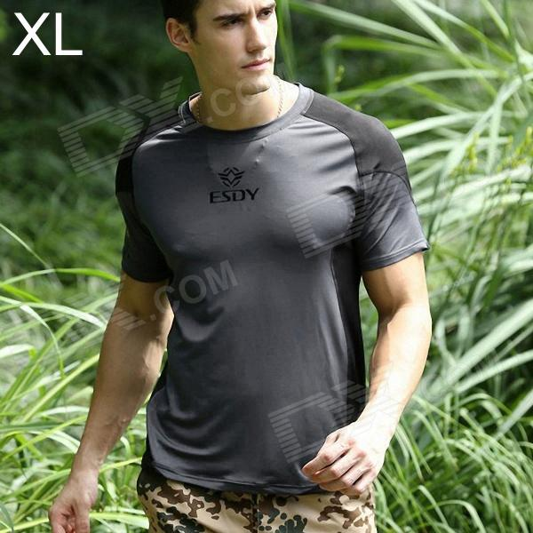 ESDY ESDY-8868 Outdoor Sports Cotton + Nylon Tightness T-Shirt for Men - Grey + Black (XL) esdy 619 men s outdoor sports climbing detachable quick drying polyester shirt camouflage xxl