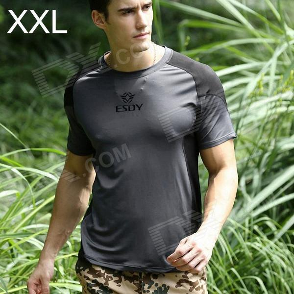 ESDY ESDY-8868 Outdoor Sports Cotton + Nylon Tightness T-Shirt for Men - Grey + Black (XXL) esdy 611 men s outdoor sports climbing detachable quick drying polyester shirt camouflage xxl