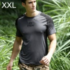 ESDY ESDY-8868 Outdoor Sports Cotton + Nylon Tightness T-Shirt for Men - Grey + Black (XXL)